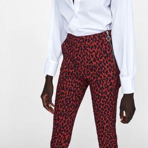 Zara NWT leopard print high-waisted cigarette pant